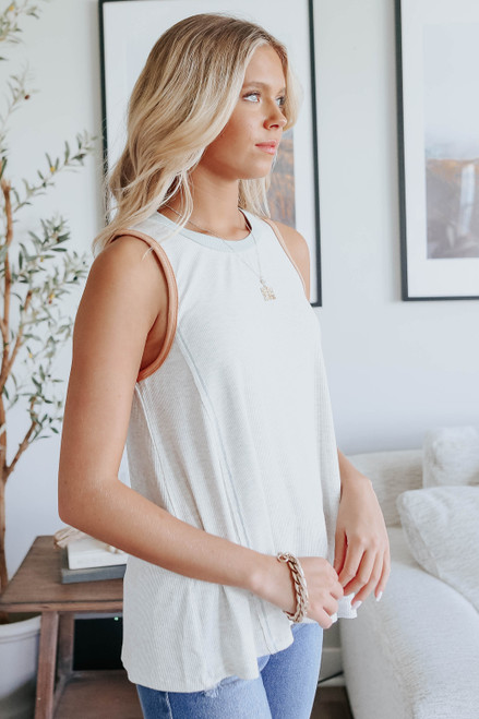 High Neck Contrast Open Back Ribbed Tank