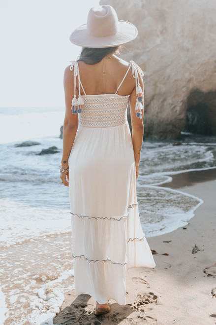Tie Strap Smocked Ivory Tiered Contrast Maxi