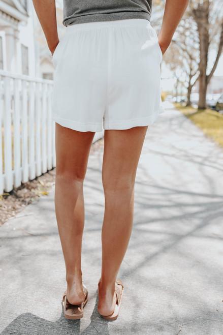 Drawstring White Cuffed Shorts