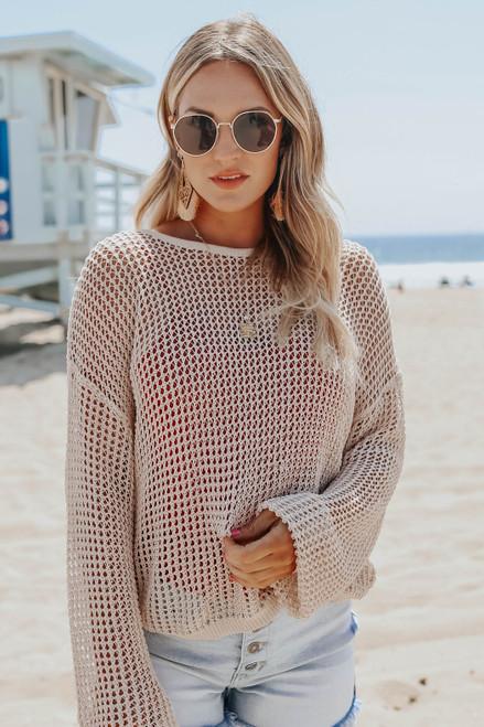Sawyer Contrast Tank & Mesh Sweater Set