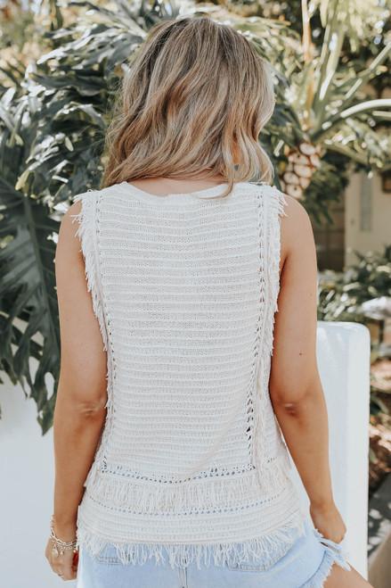 Sleeveless Fringe Taupe Textured Sweater