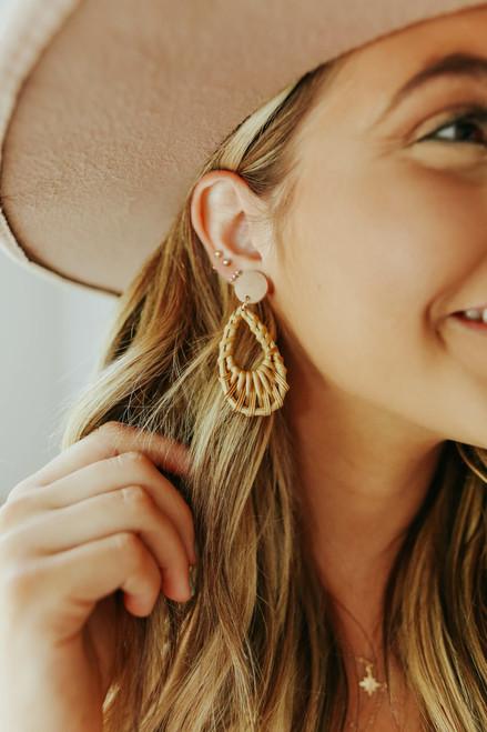 Rattan Natural Teardrop Earrings