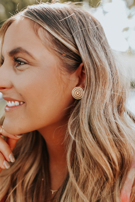 Gold Plated Filigree Circle Earrings