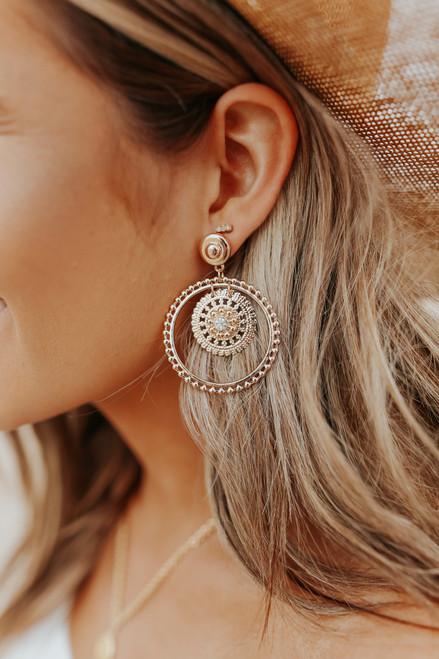 Textured Gold Medallion Earrings