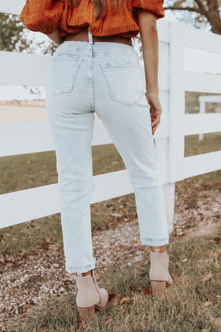 Millman Light Wash Distressed Mom Jeans