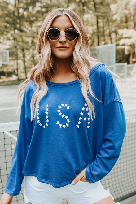 USA Open Back Blue Terry Pullover