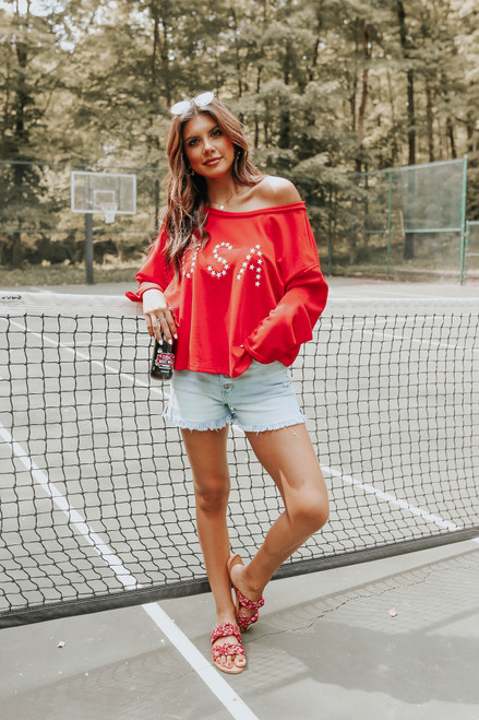 USA Open Back Red Terry Pullover