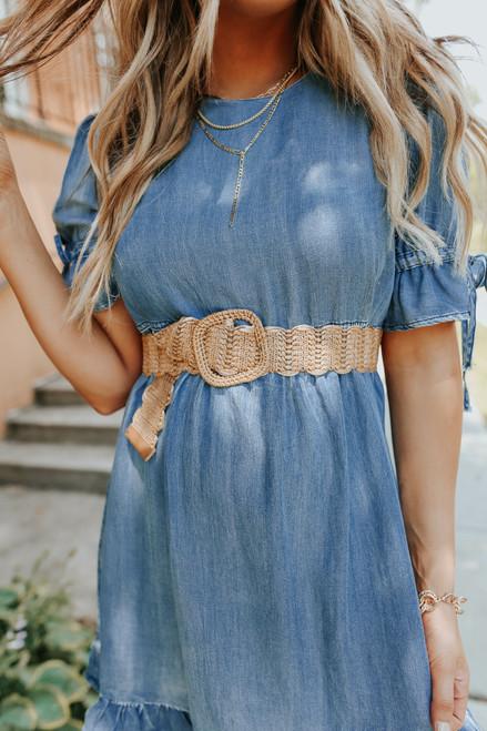 Scalloped Tan Woven Belt