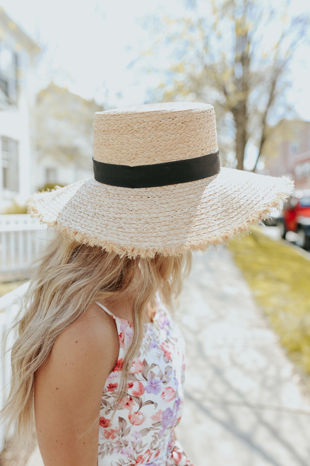 Frayed Natural Straw Boater Hat