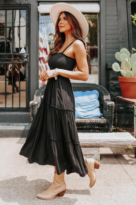 Tie Strap Smocked Black Tiered Midi Dress