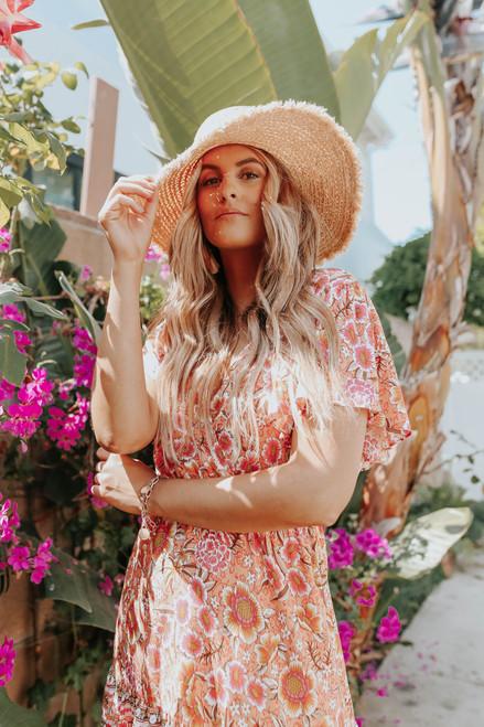 Paradise Point Surplice Orange Floral Dress