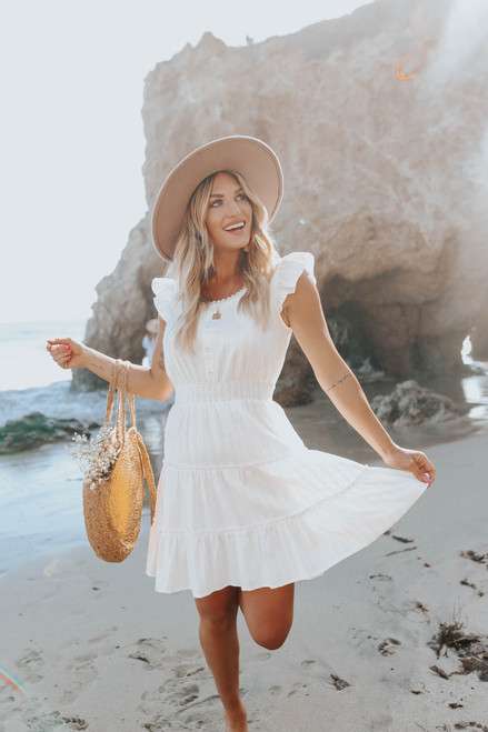 Cap Sleeve Button Detail White Dotted Dress