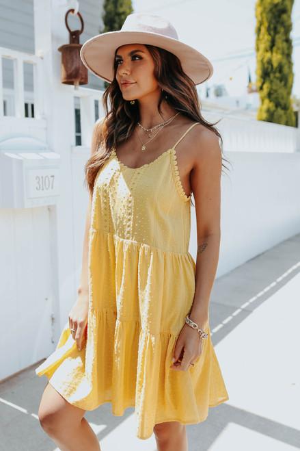 Crochet Detail Mustard Dotted Dress