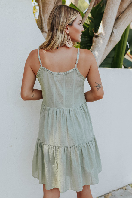 Crochet Detail Olive Dotted Dress