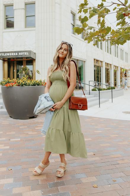 Ruffle Strap Smocked Olive Midi Dress