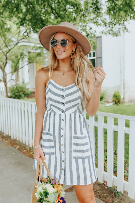 Button Down Contrast Navy Striped Dress