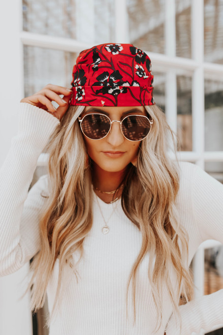 Red Floral Bandana Scarf