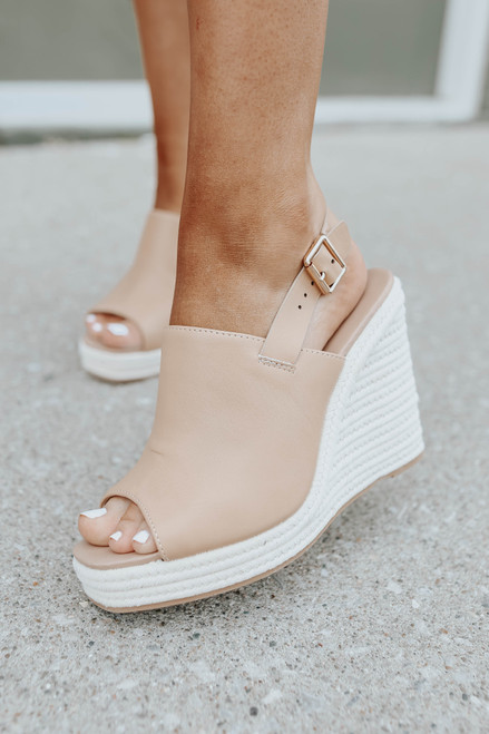 Faux Leather Tan Espadrille Slingback Wedges