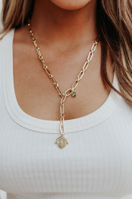 Starburst Linked Gold Y Necklace