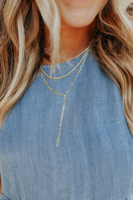 Destiny Layered Gold Y Necklace