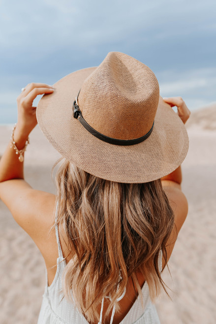 On Island Time Belted Tan Straw Hat