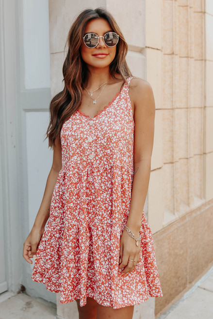 Button Detail Apricot Floral Tiered Dress