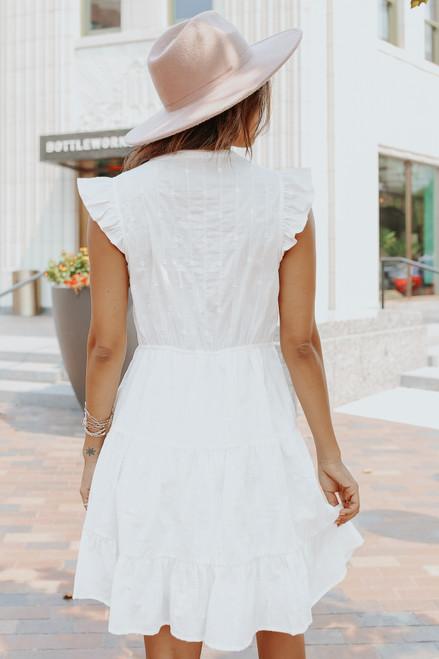 V-Neck Embroidered Dotted Ivory Ruffle Hem Dress