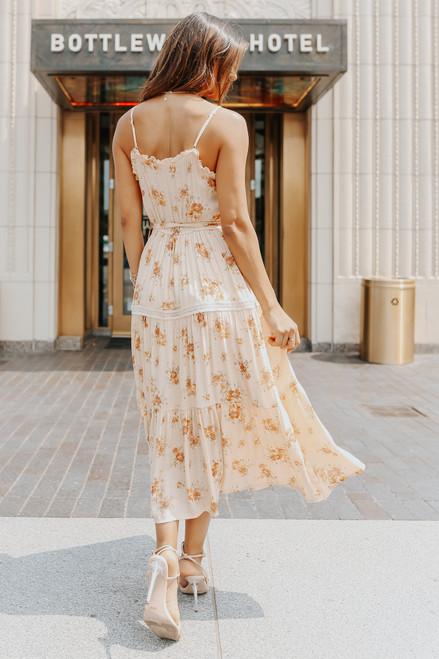 Crochet Detail Tie Waist Floral Midi Dress