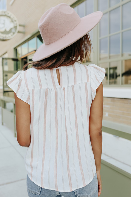 Cap Sleeve Floral Embroidered Coral Striped Top
