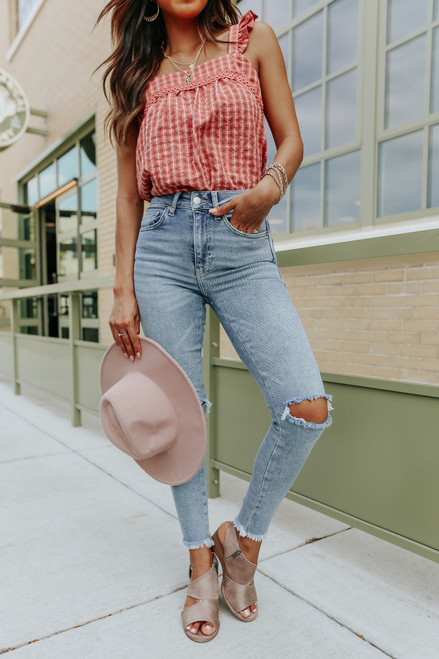 Square Neck Apricot Gingham Top