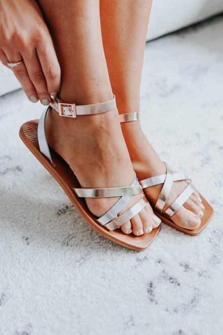 Shining Down Strappy Metallic Sandals