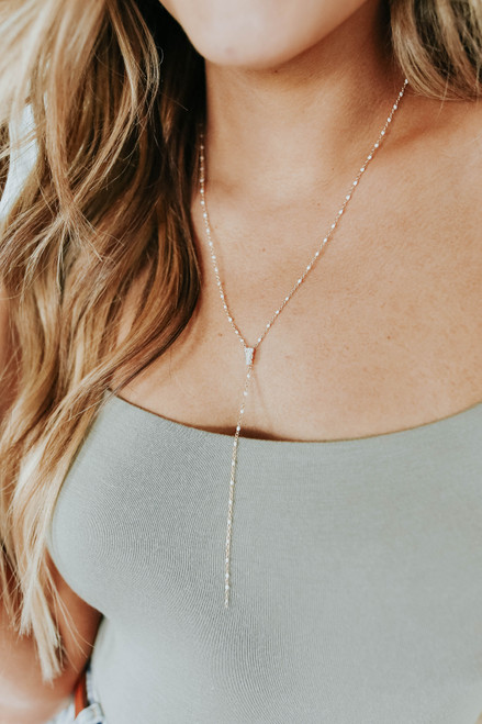 Dotted Y Gold Dainty Necklace