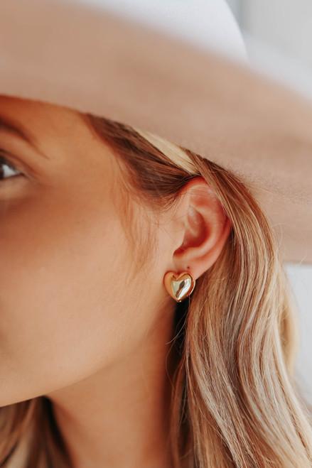 Heart of Gold Dipped Huggie Earrings
