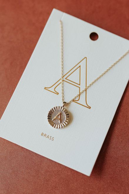 Coin Pendant Gold Initial Necklace