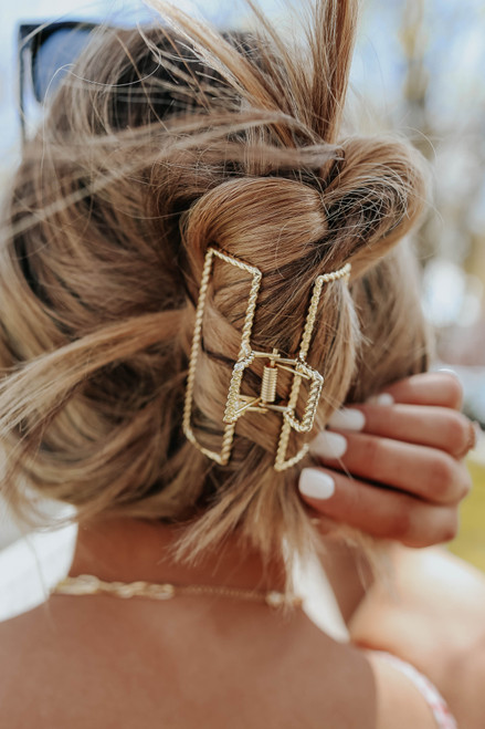 Twisted Rectangle Gold Metal Hair Clip
