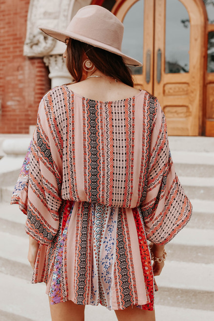 Surplice Boho Print Kimono Romper