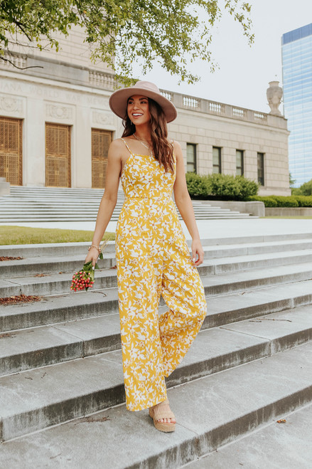 Sunshine Market Tie Back Floral Jumpsuit