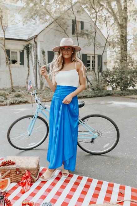 Smocked Convertible Blue Satin Maxi Skirt/Dress