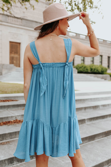 Tie Strap Teal Blue Ruffle Hem Dress