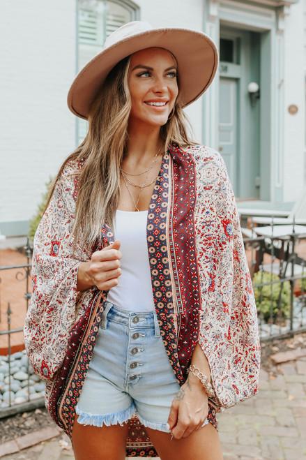 Desert Escape Mixed Print Cocoon Kimono