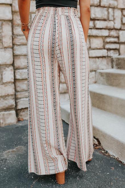 Smocked Waist Taupe Printed Pants