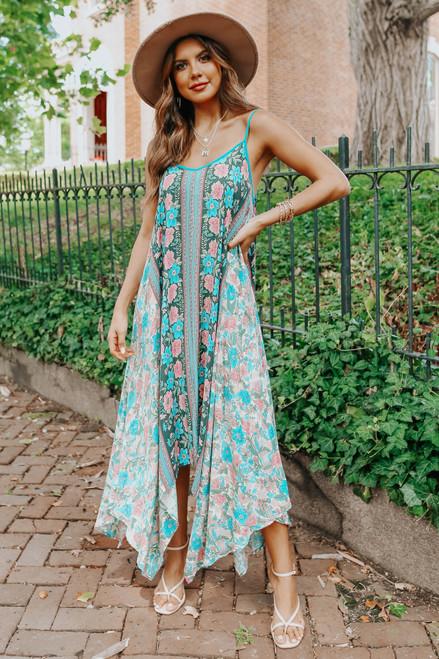 V-Neck Floral Handkerchief Dress