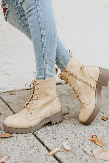 Dirty Laundry Mazzy Natural Combat Booties