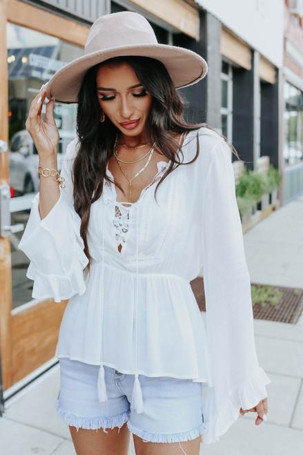 Verona Lace Up White Boho Top