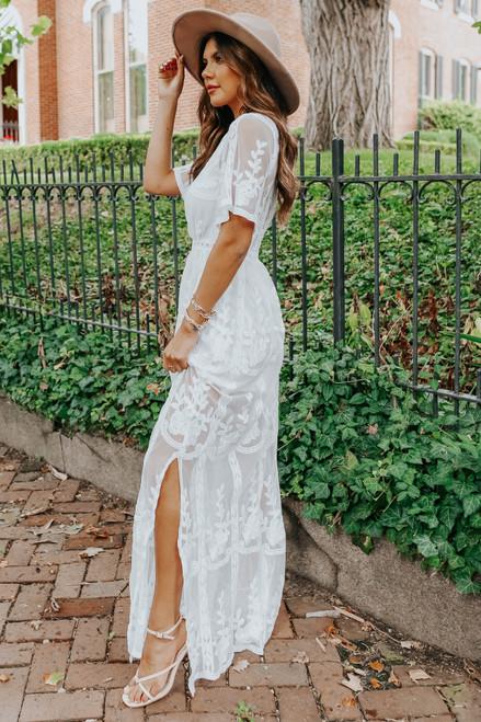 Reign White Lace Romper Maxi