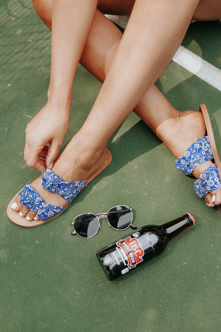 Festival Knotted Blue Paisley Sandals