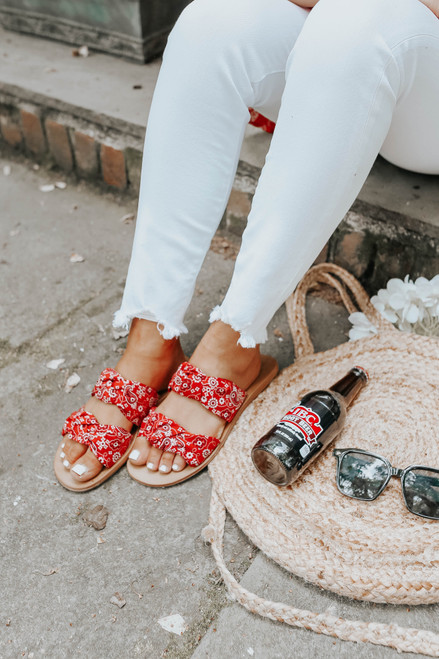 Festival Knotted Red Paisley Sandals