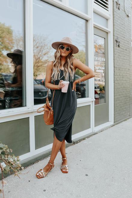 Vacation Calling V-Neck Black Midi Dress