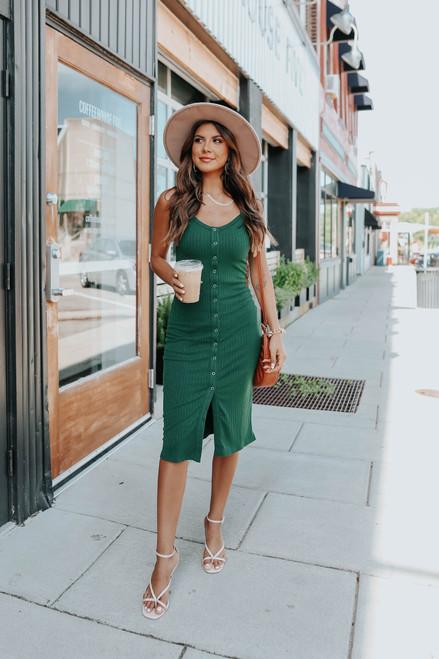 Button Down Green Ribbed Midi Dress