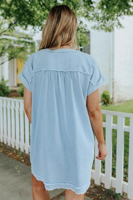 V-Neck Frayed Light Wash Denim Dress